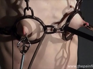 Electro bdsm and feet punishment of slave Elise Graves in dungeon tit torture an