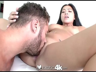 Asian cutie Morgan Lee fits big dick in her wet shaved pussy