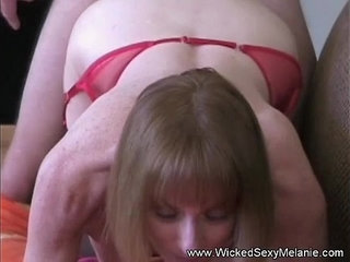 Mom riding sons cock on the couch
