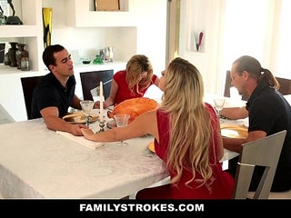 FamilyStrokes Step Sister Sucks And Fucks Brother During Thanksgiving Dinner