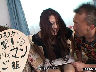 Sexy Japanese milf getting horny after a meal