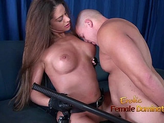 Girl in police uniform regulating a guy by making him lick her pussy